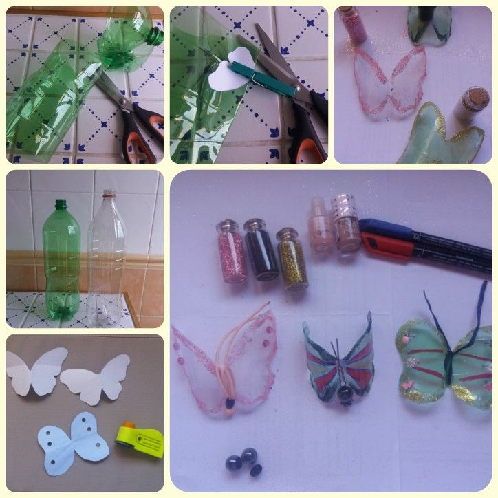 Manualidades mariposas de plastico collage I 1